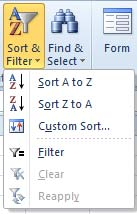 Sorting Menu in Excel 2010