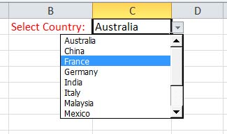 Drop Down list of Countries in Excel